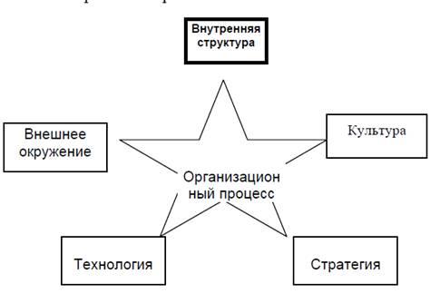 Рис. 2. Связь структуры с окружением, технологией, стратегией и процессами в организации